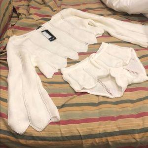 Nasty Gal NWT cream knit set